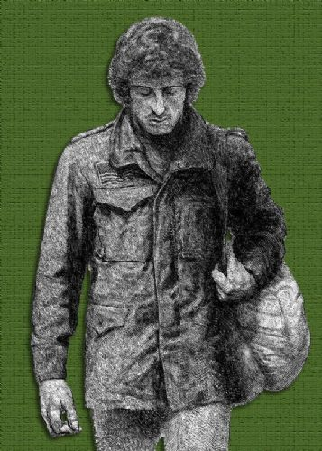 1980's Movie - FIRST BLOOD - RAMBO SKETCH GREEN canvas print - self adhesive poster - photo print